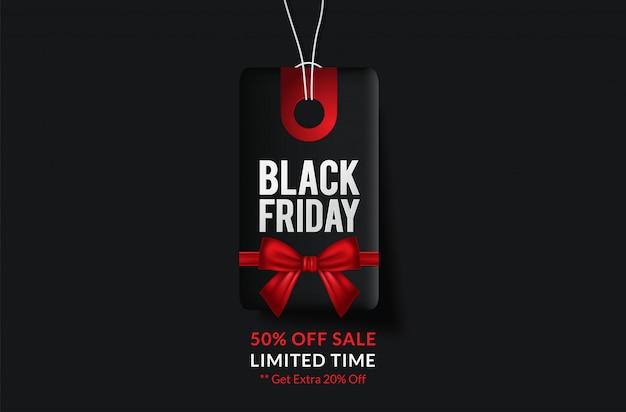 Etichetta nera di vendita di black friday, insegna rotonda, pubblicità, illustrazione