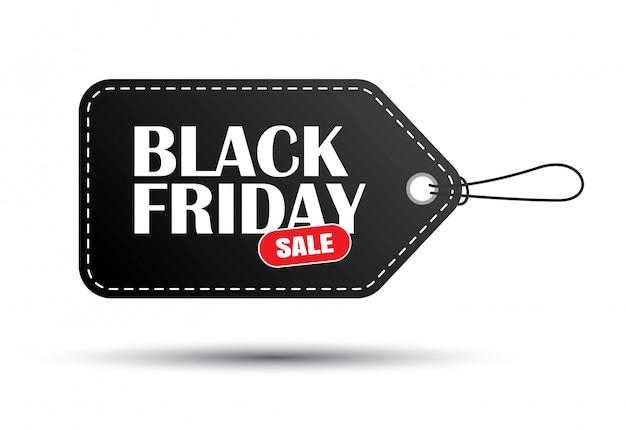 Etichetta nera di vendita di venerdì nero isolata su fondo bianco