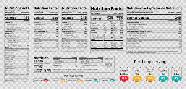 Etichetta nutrizionale. illustrazione. set di tabelle informazioni sugli alimenti.