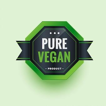 Etichetta o adesivo di puro prodotto biologico ecologico vegano