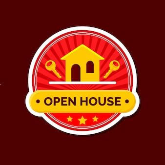 Etichetta open house con chiavi