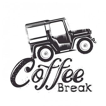 Etichetta pausa caffè con auto