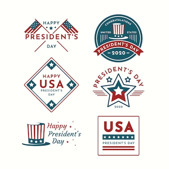 Etichetta per il giorno del presidente degli stati uniti felice
