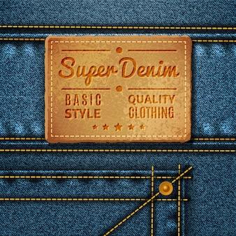 Etichetta quadrata in pelle jeans