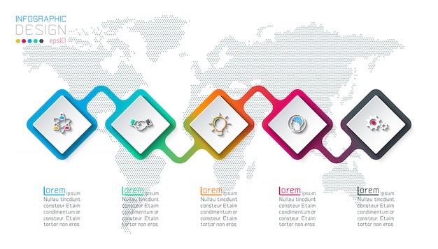 Etichetta quadrata infografica