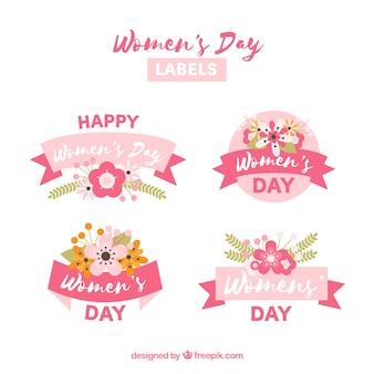 Etichetta raccolta di quattro per la giornata della donna