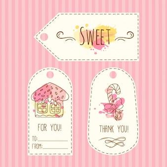 Etichetta regalo disegnato a mano con i dolci