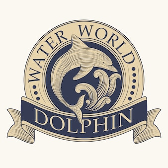 Etichetta retro dolphin