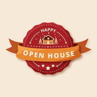 Etichetta rossa di casa aperta