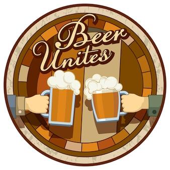 Etichetta rotonda dell'immagine di tema della birra isolata su un fondo bianco. la birra unisce! modello per menu, etichetta o poster.