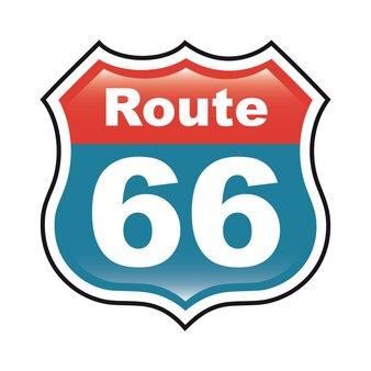 Etichetta route 66 su sfondo bianco illustrazione vettoriale