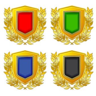 Etichetta scudo araldico per simboli di stato e loghi.