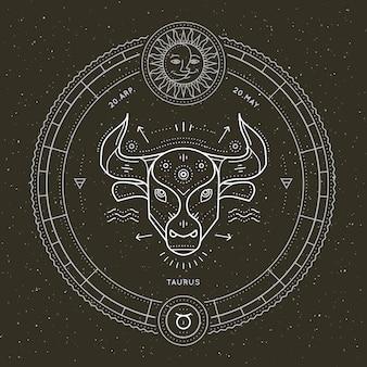 Etichetta segno zodiacale toro vintage linea sottile. simbolo astrologico vettoriale retrò, mistica, elemento di geometria sacra, emblema, logo. illustrazione di contorno del colpo.