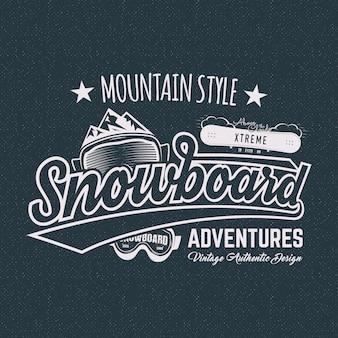 Etichetta sportiva da snowboard invernale, maglietta.