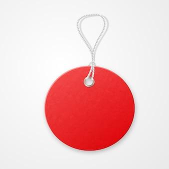 Etichetta strutturata realistica rossa di vendita con la corda.