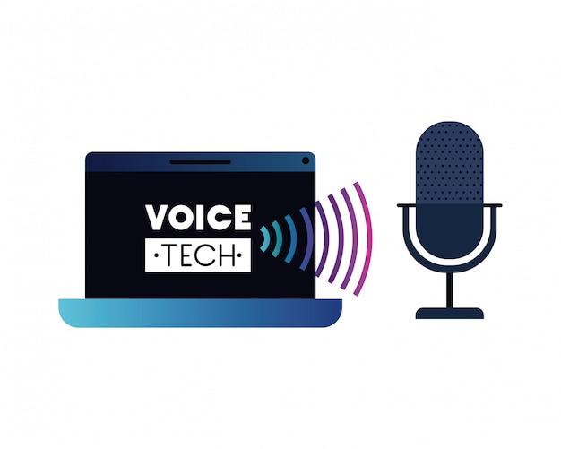 Etichetta tecnica vocale con computer portatile e assistente vocale