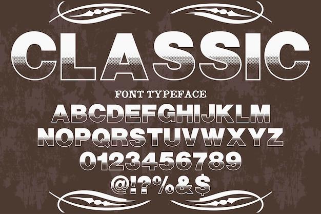 Etichetta tipografica retrò design classico