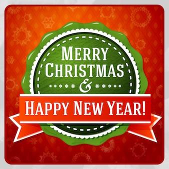 Etichetta verde stilizzata vintage di buon natale e felice anno nuovo