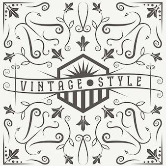 Etichetta vettoriale vintage con elementi di turbinii e fiori