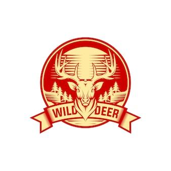 Etichetta vintage cervi natura selvaggia e modello logo