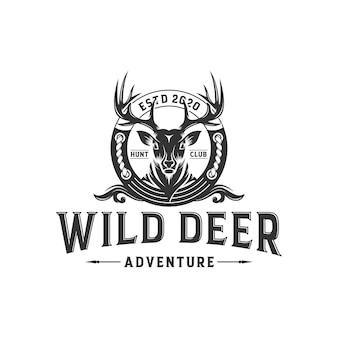Etichetta vintage cervi selvatici e modello logo