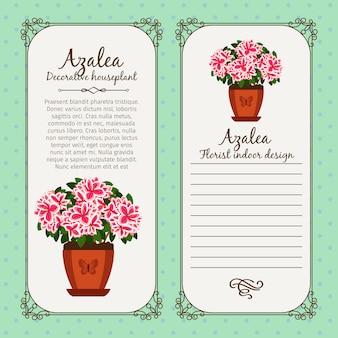 Etichetta vintage con azalea in vaso