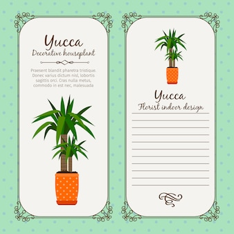 Etichetta vintage con pianta di yucca