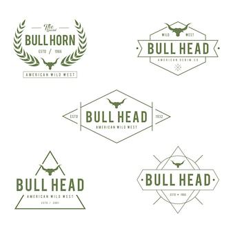 Etichetta vintage con silhouette di testa di toro, texas wild west theme