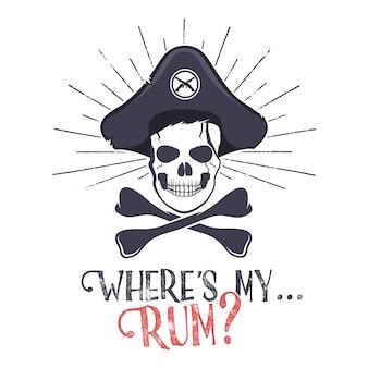 Etichetta vintage con teschio pirata