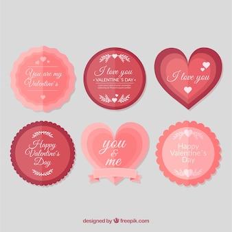 Etichetta vintage di san valentino / collezione di badge