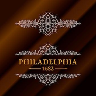 Etichetta vintage oro con scritte philadelphia