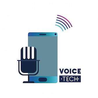Etichetta vocale tecnica con smartphone e assistente vocale