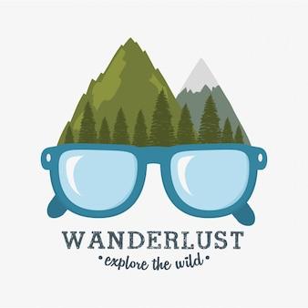Etichetta wanderlust con scena di foresta e occhiali da vista