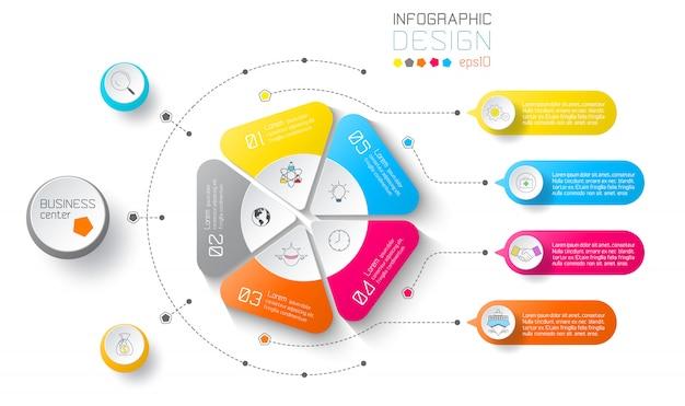 Etichette aziendali infographic su cerchi e barra verticale.
