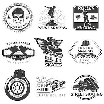 Etichette bianche nere di pattinaggio a rotelle