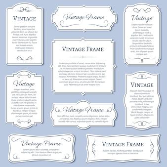 Etichette cornice d'epoca con set di modelli di testo calligrafico