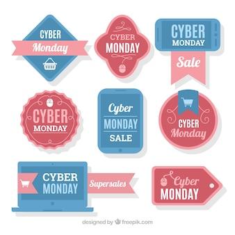 Etichette cyber lunedì e blu