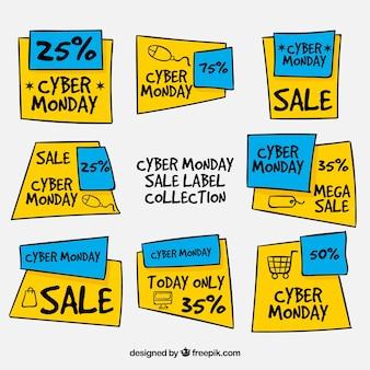 Etichette cyber monday disegnate a mano blu e giallo