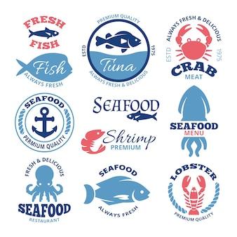 Etichette d'epoca di vettore di pesce nautico ed emblemi del ristorante. emblema dei frutti di mare per il ristorante, illustrazione del distintivo del pesce fresco del mercato