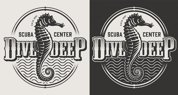 Etichette d'immersione d'annata con i cavallucci marini e casco di immersione nell'illustrazione monocromatica di stile