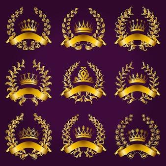 Etichette d'oro di lusso con corona di alloro