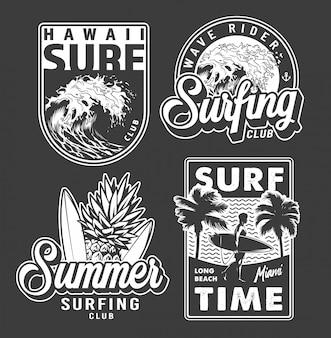 Etichette da surf vintage monocromatiche