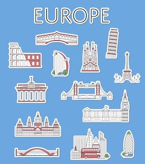 Etichette da viaggio europee impostate in stile lineare
