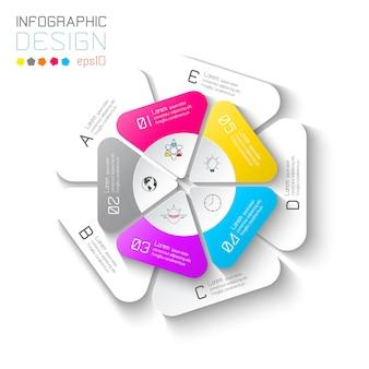 Etichette di affari infographic su barra di cerchi di due strati.