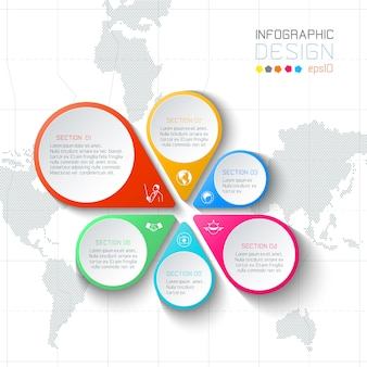 Etichette di affari infographic sul fondo della mappa di mondo.
