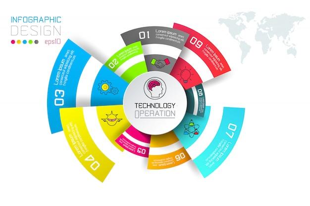 Etichette di affari infographic sulla barra dei cerchi.
