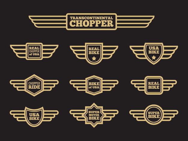 Etichette di ala vintage moto sportiva