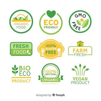 Etichette di alimenti biologici piatte