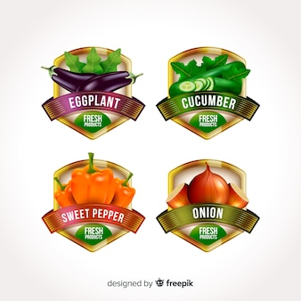 Etichette di alimenti biologici realistici
