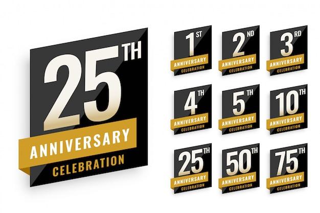 Etichette di anniversario logo set design